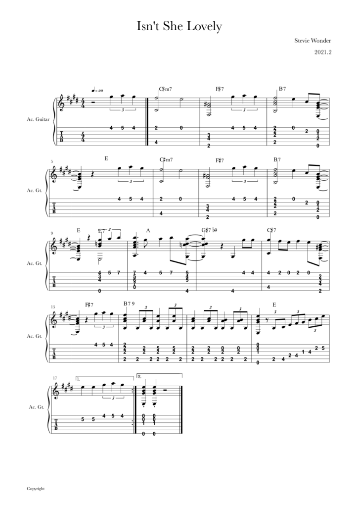 guitar tab_Isn't she lovely